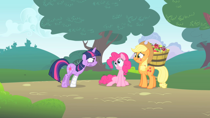 830px-Twilight_Sparkle_scuffed_Pinkie_Pie_Applejack_S1E15