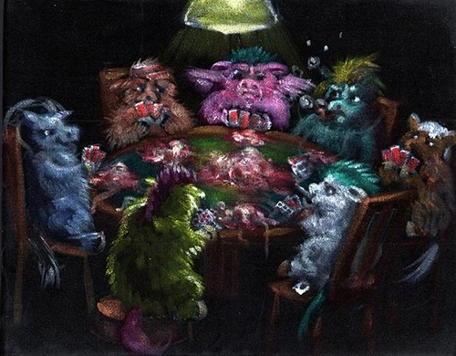 Fluffies Playing Poker by Janet Brusselbach