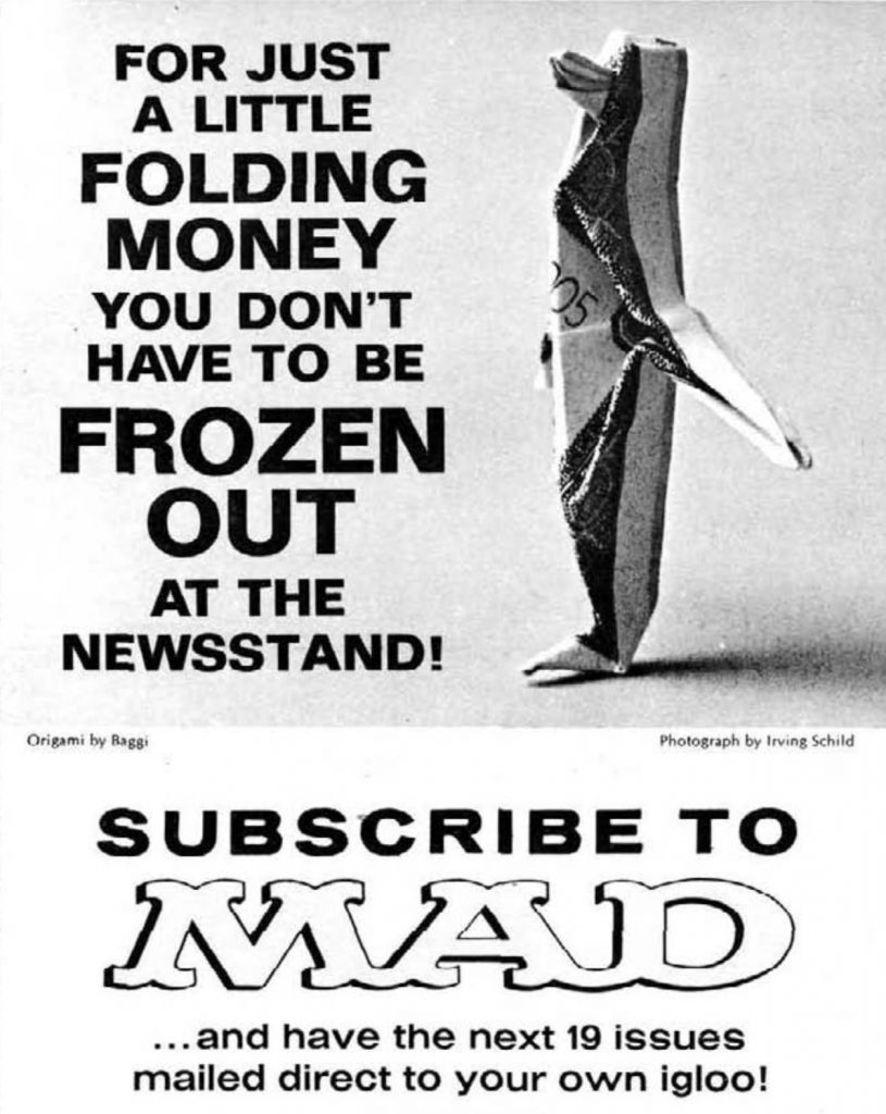 MAD #115 subscription ad, origami penguin