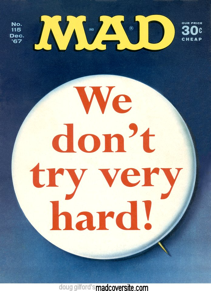 MAD #115 cover we don't try very hard button