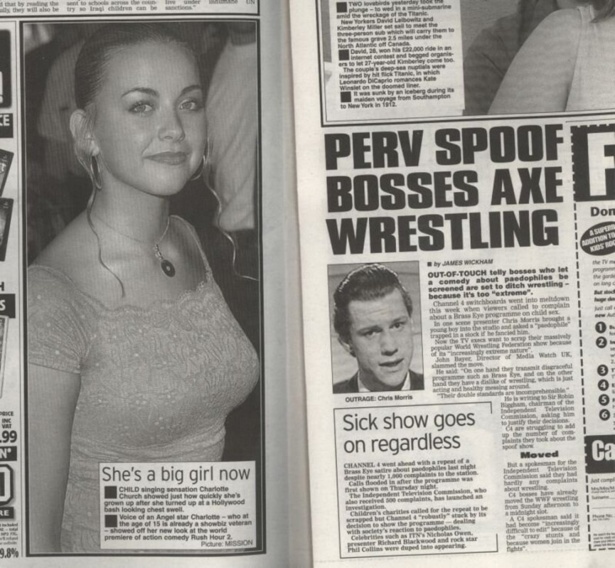 brass eye dark humor charlotte church breasts daily star